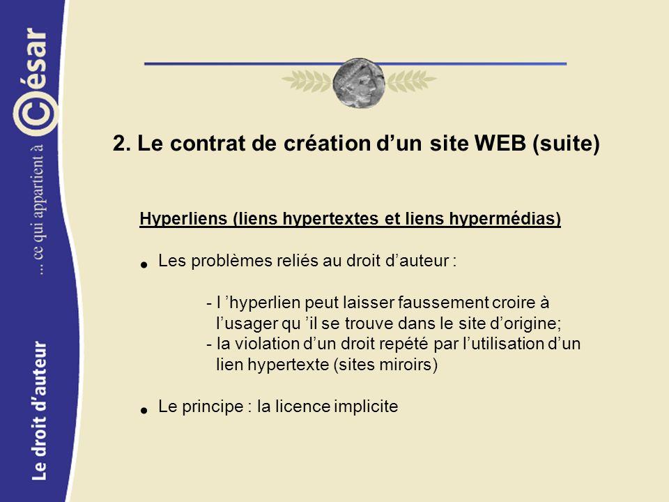 2. Le contrat de création dun site WEB (suite) Hyperliens (liens hypertextes et liens hypermédias) Les problèmes reliés au droit dauteur : - l hyperli