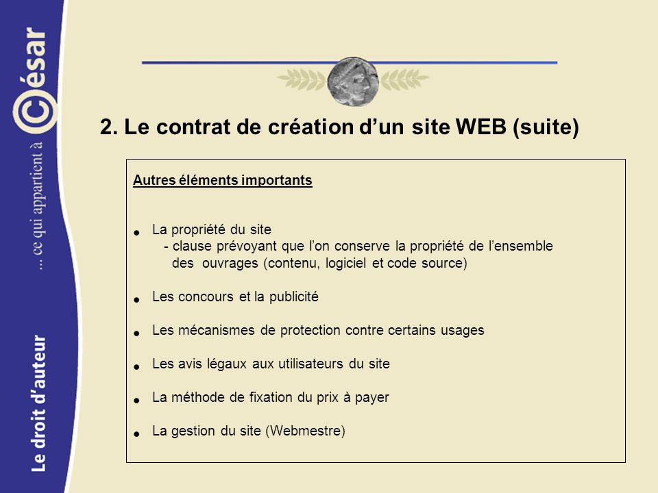 2. Le contrat de création dun site WEB (suite) Autres éléments importants La propriété du site - clause prévoyant que lon conserve la propriété de len