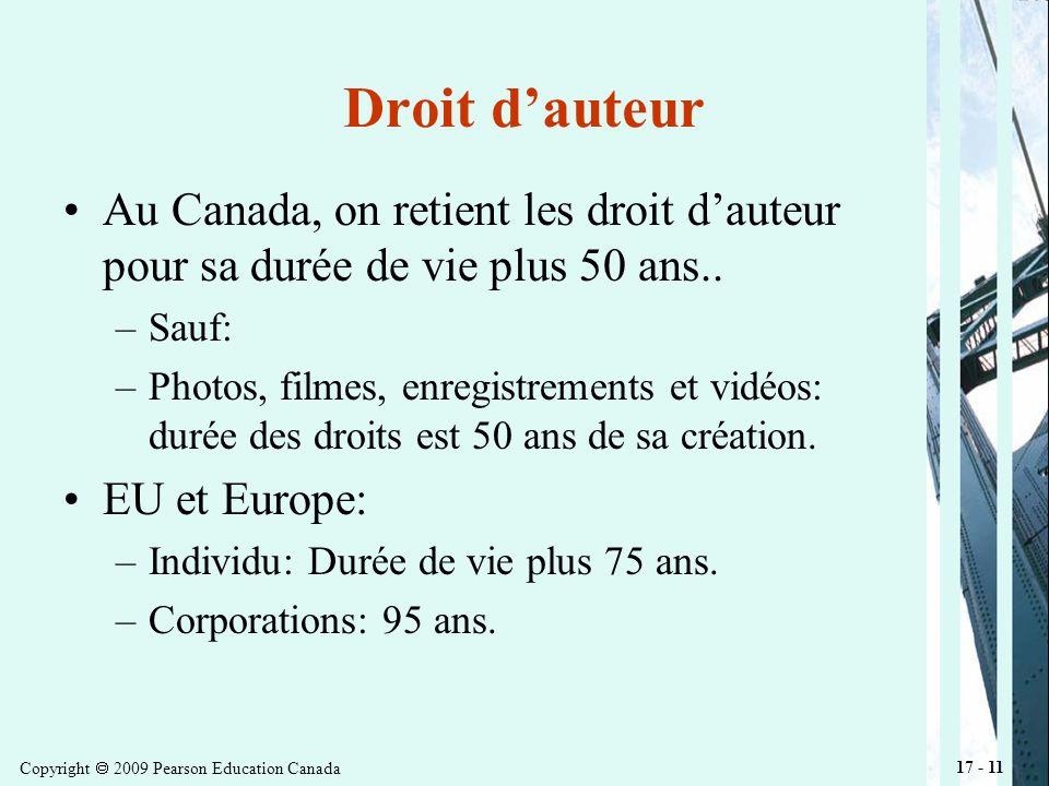 Copyright 2009 Pearson Education Canada 17 - 11 Droit dauteur Au Canada, on retient les droit dauteur pour sa durée de vie plus 50 ans..