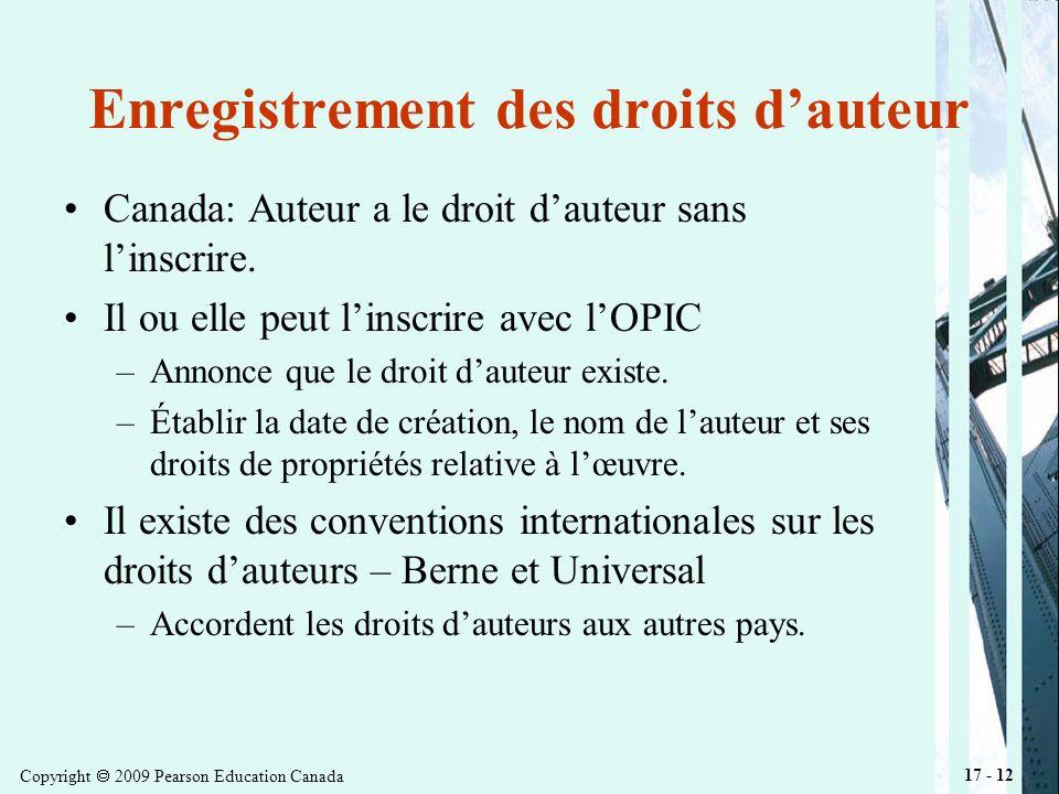 Copyright 2009 Pearson Education Canada 17 - 12 Enregistrement des droits dauteur Canada: Auteur a le droit dauteur sans linscrire.