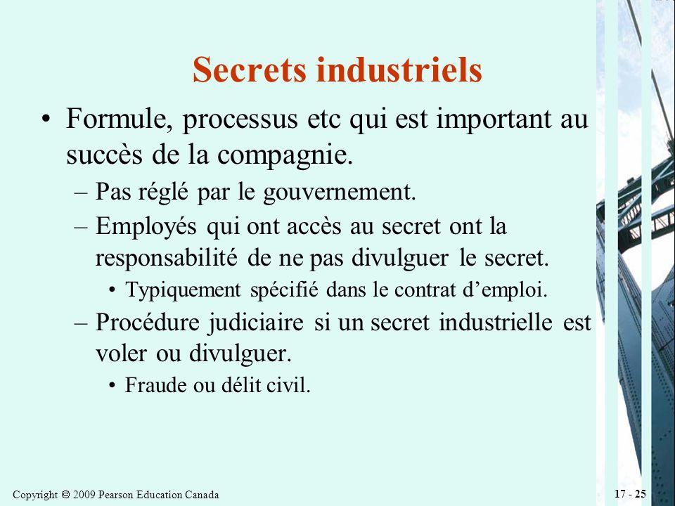 Copyright 2009 Pearson Education Canada 17 - 25 Secrets industriels Formule, processus etc qui est important au succès de la compagnie.