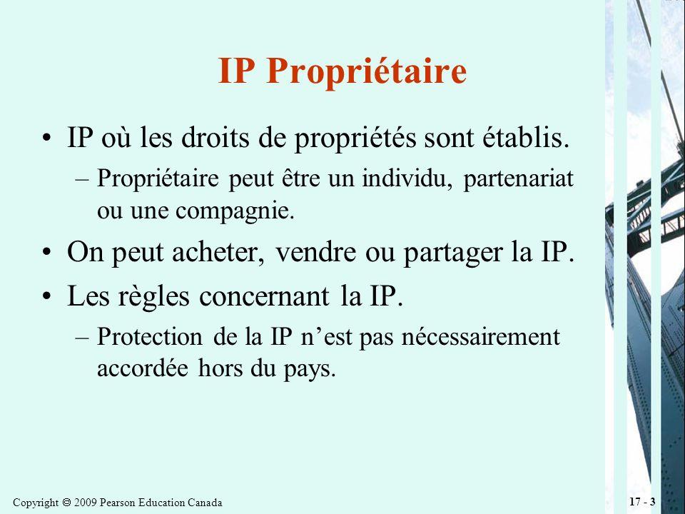 Copyright 2009 Pearson Education Canada 17 - 14 Droit dauteur pour les logiciels Les logiciels peuvent être considérés comme des œuvres littéraires.