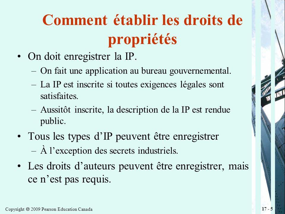 Copyright 2009 Pearson Education Canada 17 - 5 Comment établir les droits de propriétés On doit enregistrer la IP.