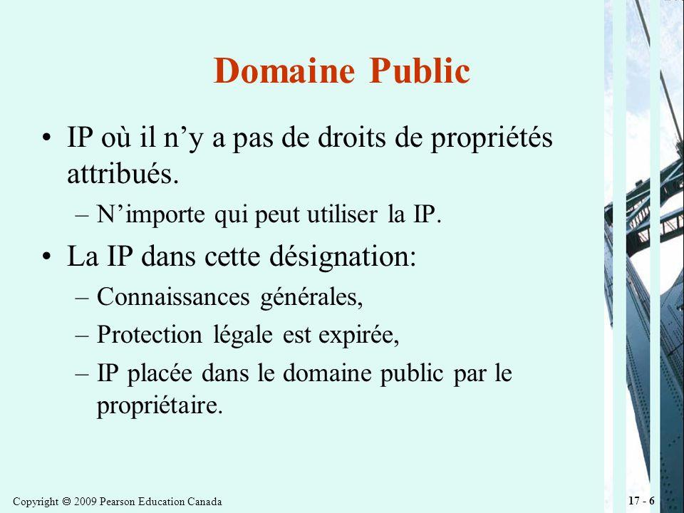 Copyright 2009 Pearson Education Canada 17 - 17 Brevet Les trois critèresnouveauté, utilité, et ingénuitésont examinés pour chaque application de brevet.