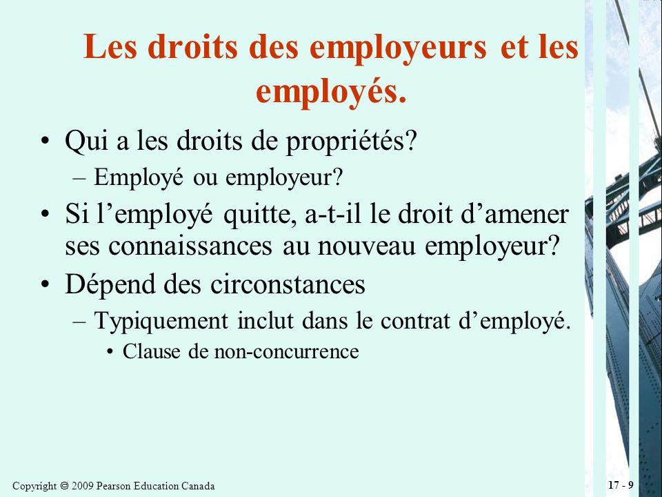Copyright 2009 Pearson Education Canada 17 - 9 Les droits des employeurs et les employés.