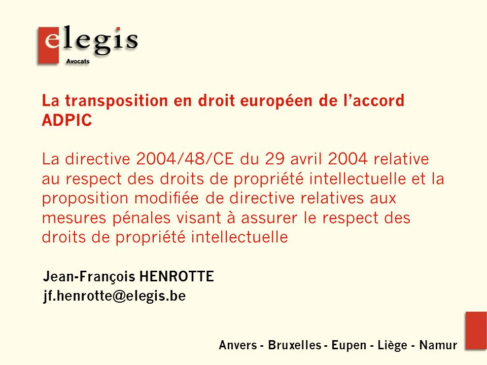 www.elegis.be 2 1.