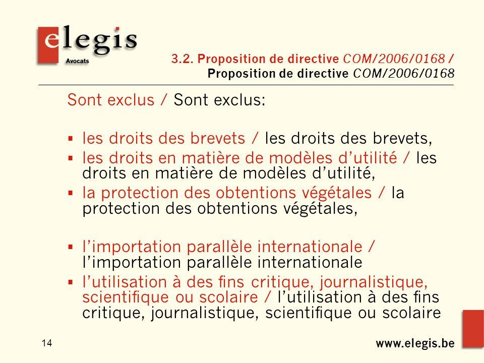 www.elegis.be 14 3.2. Proposition de directive COM/2006/0168 / Proposition de directive COM/2006/0168 Sont exclus / Sont exclus: les droits des brevet