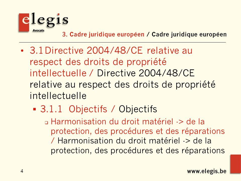 www.elegis.be 4 3. Cadre juridique européen / Cadre juridique européen 3.1Directive 2004/48/CE relative au respect des droits de propriété intellectue