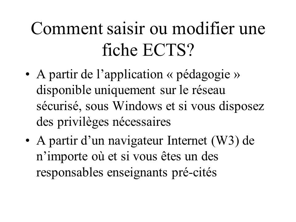 Comment saisir ou modifier une fiche ECTS? A partir de lapplication « pédagogie » disponible uniquement sur le réseau sécurisé, sous Windows et si vou