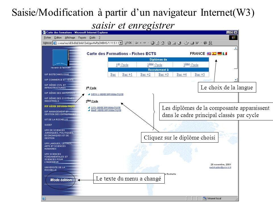 Saisie/Modification à partir dun navigateur Internet(W3) saisir et enregistrer Les diplômes de la composante apparaissent dans le cadre principal clas