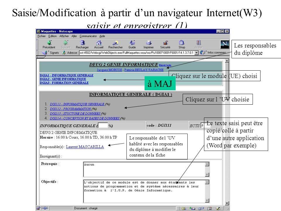 Saisie/Modification à partir dun navigateur Internet(W3) saisir et enregistrer (1) Le texte saisi peut être copié/collé à partir dune autre application (Word par exemple) Cliquez sur le module (UE) choisi Cliquez sur l UV choisie Les responsables du diplôme Le responsable de l UV hablité avec les responsables du diplôme à modifier le contenu de la fiche à MAJ