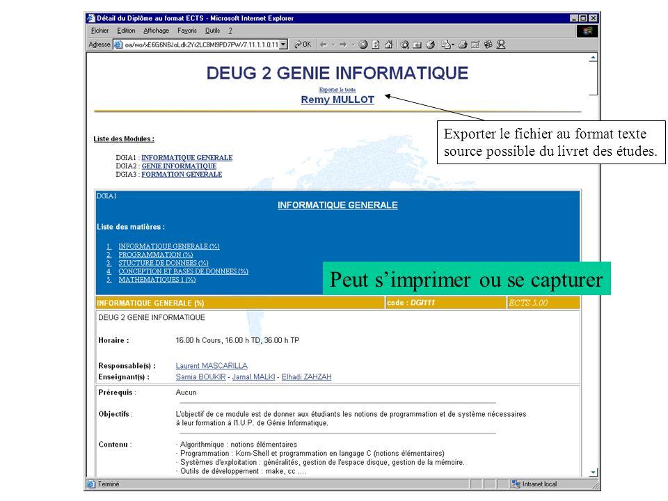 Exemple dune fiche ECTS Exporter le fichier au format texte source possible du livret des études. Peut simprimer ou se capturer