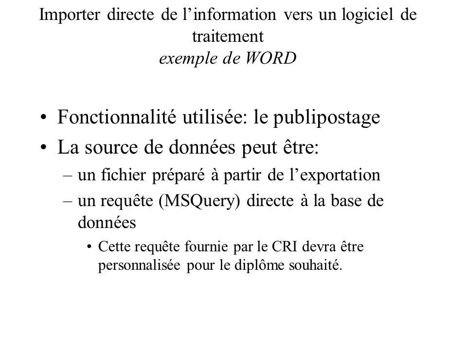 Importer directe de linformation vers un logiciel de traitement exemple de WORD Fonctionnalité utilisée: le publipostage La source de données peut êtr
