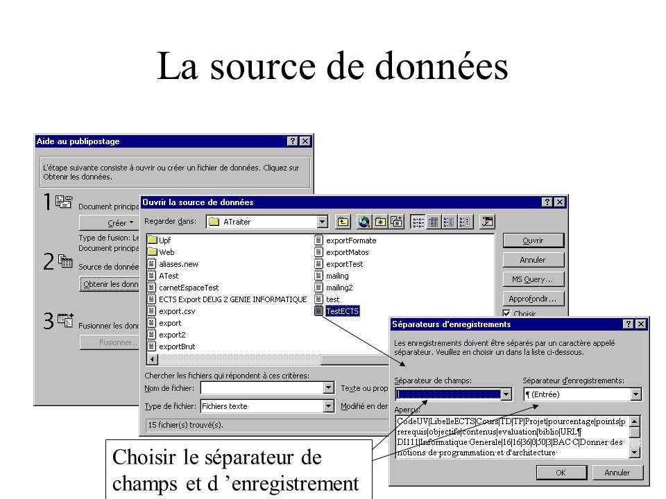 La source de données Choisir le séparateur de champs et d enregistrement