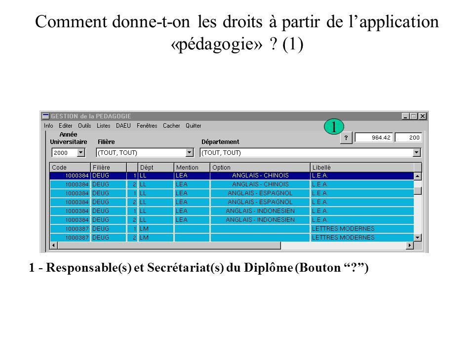 Comment donne-t-on les droits à partir de lapplication «pédagogie» ? (1) 1 1 - Responsable(s) et Secrétariat(s) du Diplôme (Bouton ?)