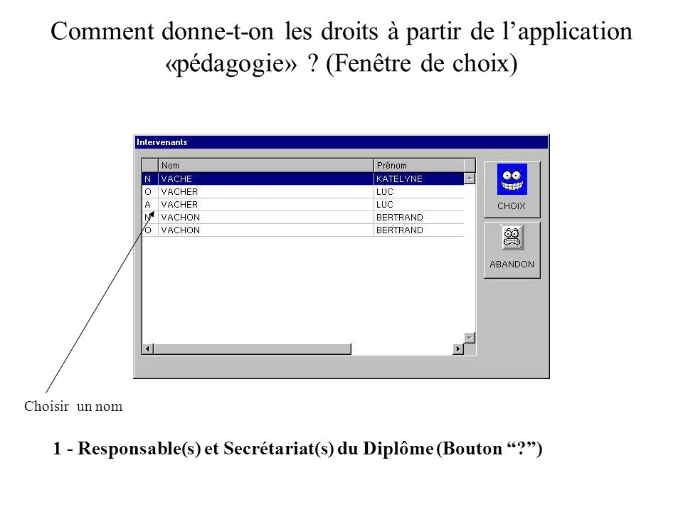 Comment donne-t-on les droits à partir de lapplication «pédagogie» ? (Fenêtre de choix) 1 - Responsable(s) et Secrétariat(s) du Diplôme (Bouton ?) Cho