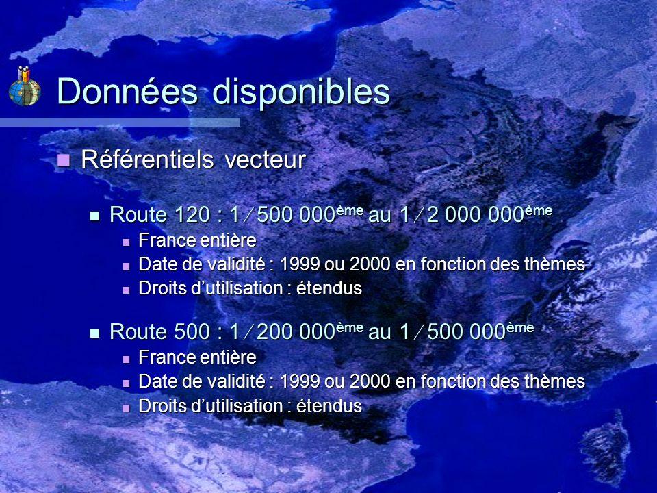 Données disponibles Référentiels vecteur (suite) Référentiels vecteur (suite) GEOFLA : 1 100 000 ème au 1 1 000 000 ème GEOFLA : 1 100 000 ème au 1 1 000 000 ème France entière France entière Date de validité : 2004 Date de validité : 2004 Droits dutilisation : étendus Droits dutilisation : étendus BD CARTO : 1 50 000 ème au 1 200 000 ème BD CARTO : 1 50 000 ème au 1 200 000 ème Loire avec possibilité dobtenir dautres départements Loire avec possibilité dobtenir dautres départements Édition : 2006 Édition : 2006 Validité des données différentes en fonction des thèmes Validité des données différentes en fonction des thèmes Droits dutilisation : restreints Droits dutilisation : restreints
