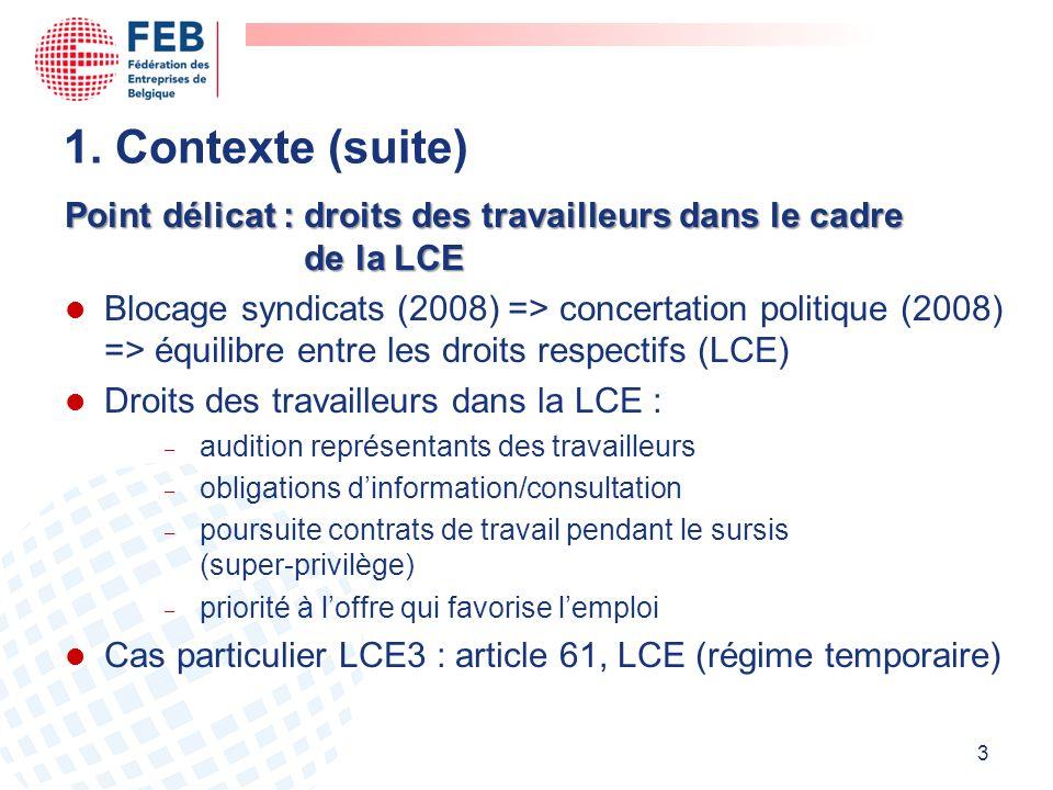Point délicat : droits des travailleurs dans le cadre de la LCE l Blocage syndicats (2008) => concertation politique (2008) => équilibre entre les droits respectifs (LCE) l Droits des travailleurs dans la LCE : audition représentants des travailleurs obligations dinformation/consultation poursuite contrats de travail pendant le sursis (super-privilège) priorité à loffre qui favorise lemploi l Cas particulier LCE3 : article 61, LCE (régime temporaire) 3 1.