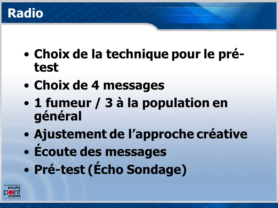 Radio Choix de la technique pour le pré- test Choix de 4 messages 1 fumeur / 3 à la population en général Ajustement de lapproche créative Écoute des messages Pré-test (Écho Sondage)