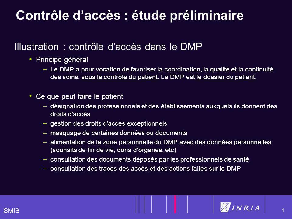 SMIS 1 Contrôle daccès : étude préliminaire Illustration : contrôle daccès dans le DMP Principe général –Le DMP a pour vocation de favoriser la coordination, la qualité et la continuité des soins, sous le contrôle du patient.