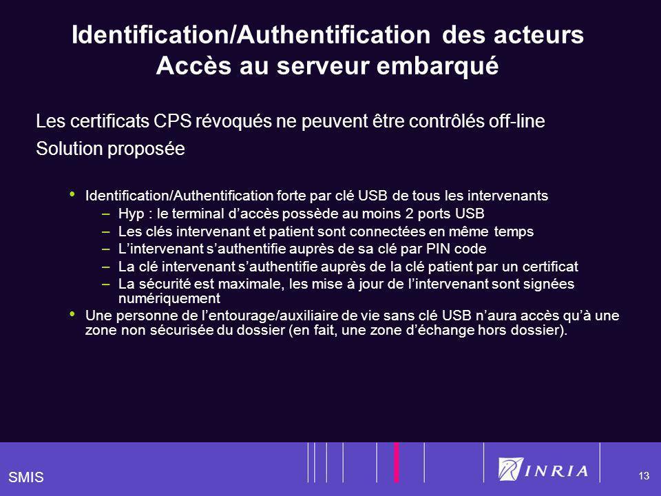 SMIS 13 Identification/Authentification des acteurs Accès au serveur embarqué Les certificats CPS révoqués ne peuvent être contrôlés off-line Solution proposée Identification/Authentification forte par clé USB de tous les intervenants –Hyp : le terminal daccès possède au moins 2 ports USB –Les clés intervenant et patient sont connectées en même temps –Lintervenant sauthentifie auprès de sa clé par PIN code –La clé intervenant sauthentifie auprès de la clé patient par un certificat –La sécurité est maximale, les mise à jour de lintervenant sont signées numériquement Une personne de lentourage/auxiliaire de vie sans clé USB naura accès quà une zone non sécurisée du dossier (en fait, une zone déchange hors dossier).