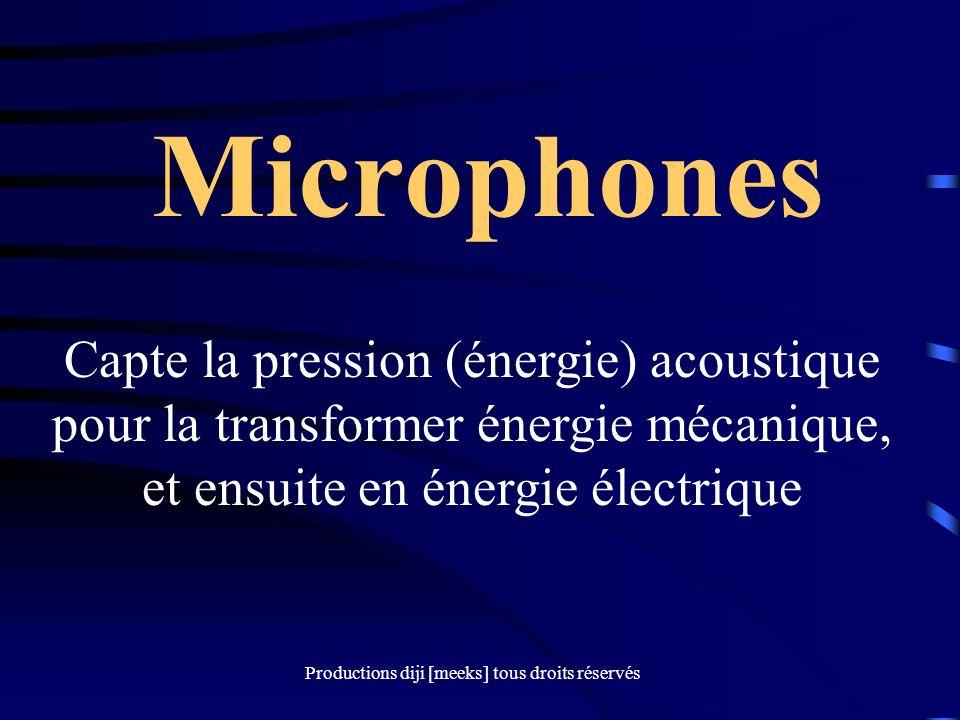 Productions diji [meeks] tous droits réservés Microphones Capte la pression (énergie) acoustique pour la transformer énergie mécanique, et ensuite en énergie électrique