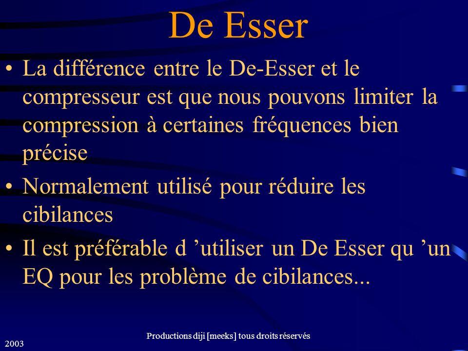 2003 Productions diji [meeks] tous droits réservés De Esser La différence entre le De-Esser et le compresseur est que nous pouvons limiter la compression à certaines fréquences bien précise Normalement utilisé pour réduire les cibilances Il est préférable d utiliser un De Esser qu un EQ pour les problème de cibilances...