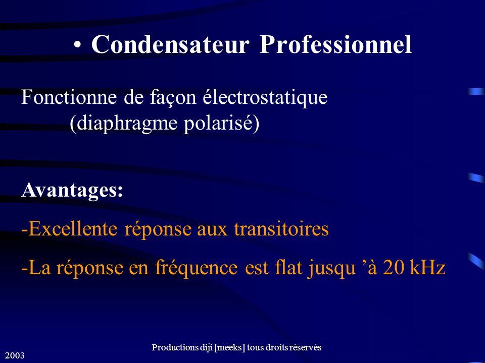 2003 Productions diji [meeks] tous droits réservés Condensateur Professionnel Avantages: -Excellente réponse aux transitoires -La réponse en fréquence est flat jusqu à 20 kHz Fonctionne de façon électrostatique (diaphragme polarisé)