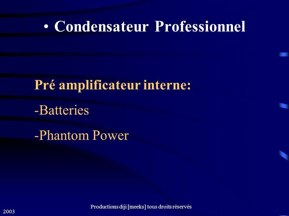 2003 Productions diji [meeks] tous droits réservés Condensateur Professionnel Pré amplificateur interne: -Batteries -Phantom Power