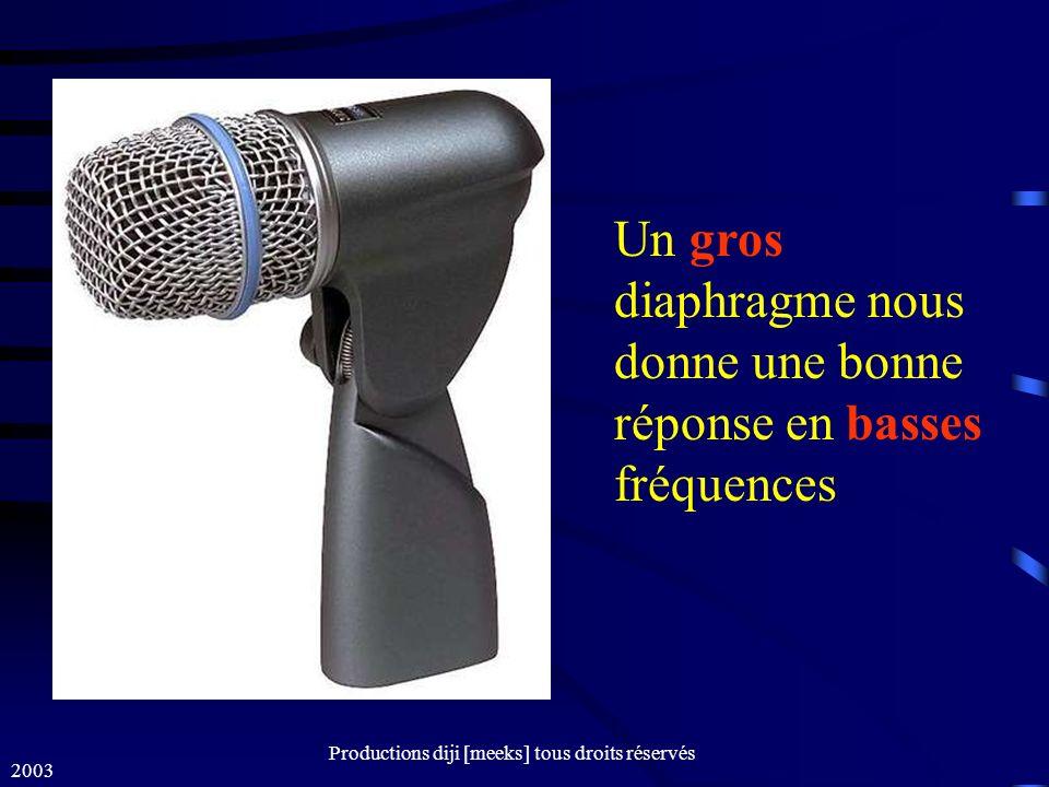 2003 Productions diji [meeks] tous droits réservés Un gros diaphragme nous donne une bonne réponse en basses fréquences