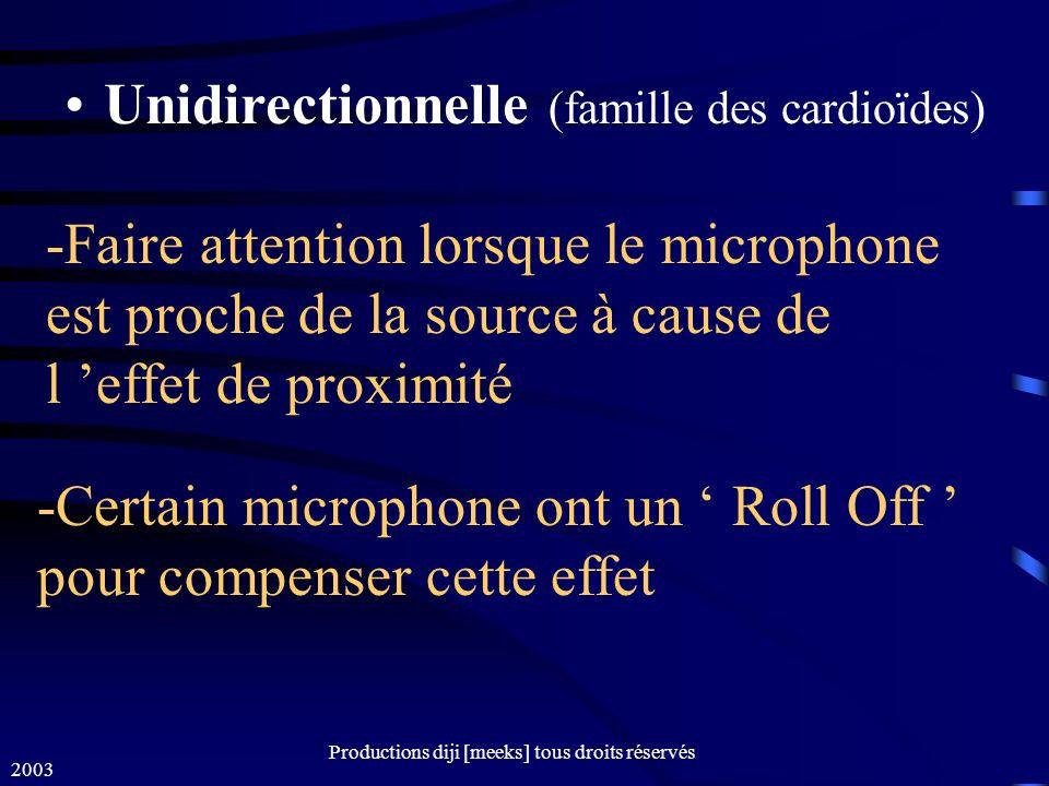 2003 Productions diji [meeks] tous droits réservés Unidirectionnelle (famille des cardioïdes) -Faire attention lorsque le microphone est proche de la source à cause de l effet de proximité -Certain microphone ont un Roll Off pour compenser cette effet