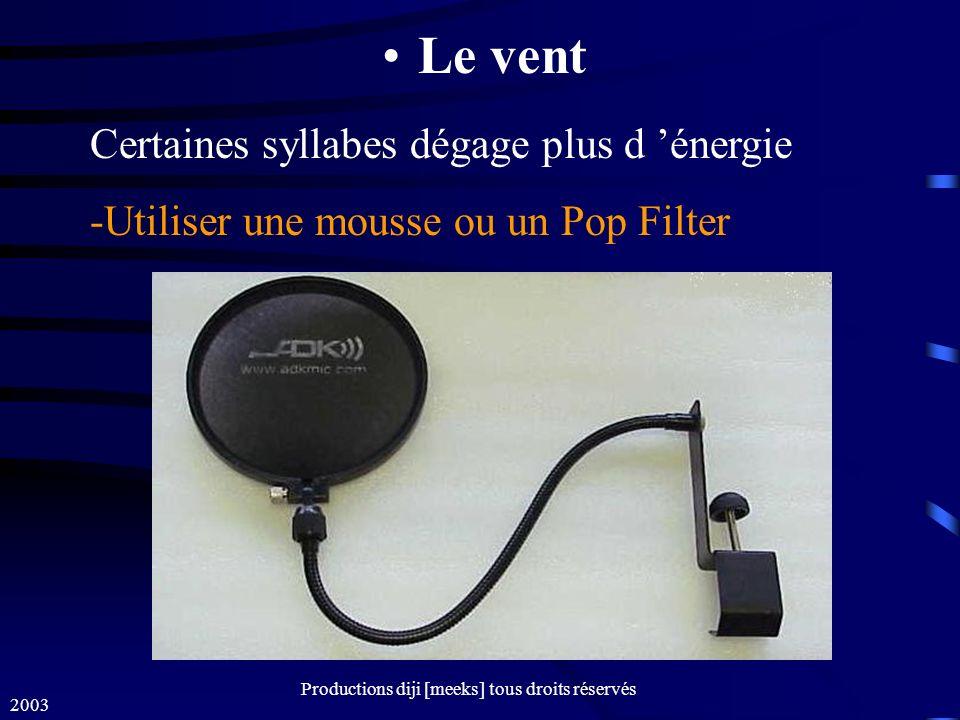 2003 Productions diji [meeks] tous droits réservés Le vent Certaines syllabes dégage plus d énergie -Utiliser une mousse ou un Pop Filter