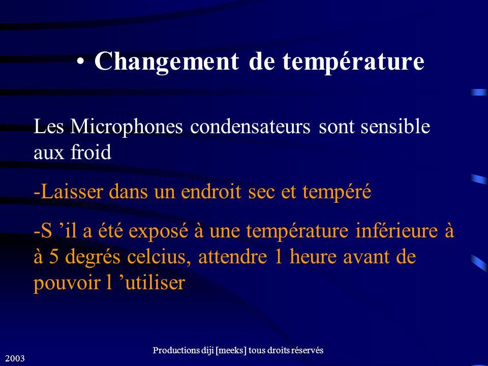 2003 Productions diji [meeks] tous droits réservés Changement de température Les Microphones condensateurs sont sensible aux froid -Laisser dans un endroit sec et tempéré -S il a été exposé à une température inférieure à à 5 degrés celcius, attendre 1 heure avant de pouvoir l utiliser