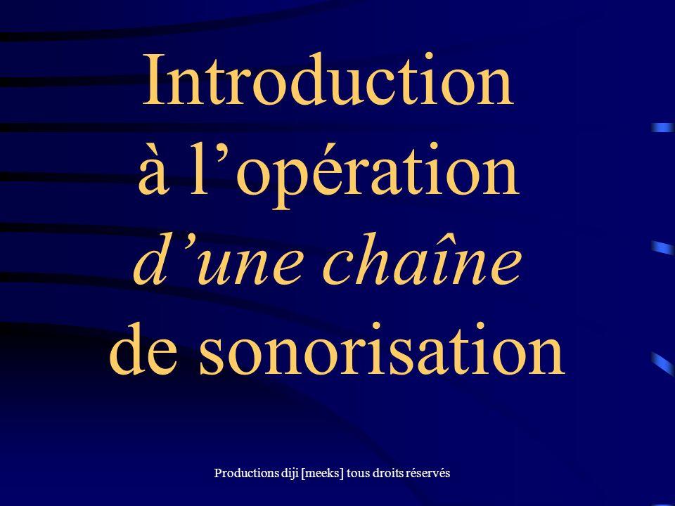 Productions diji [meeks] tous droits réservés Introduction à lopération dune chaîne de sonorisation