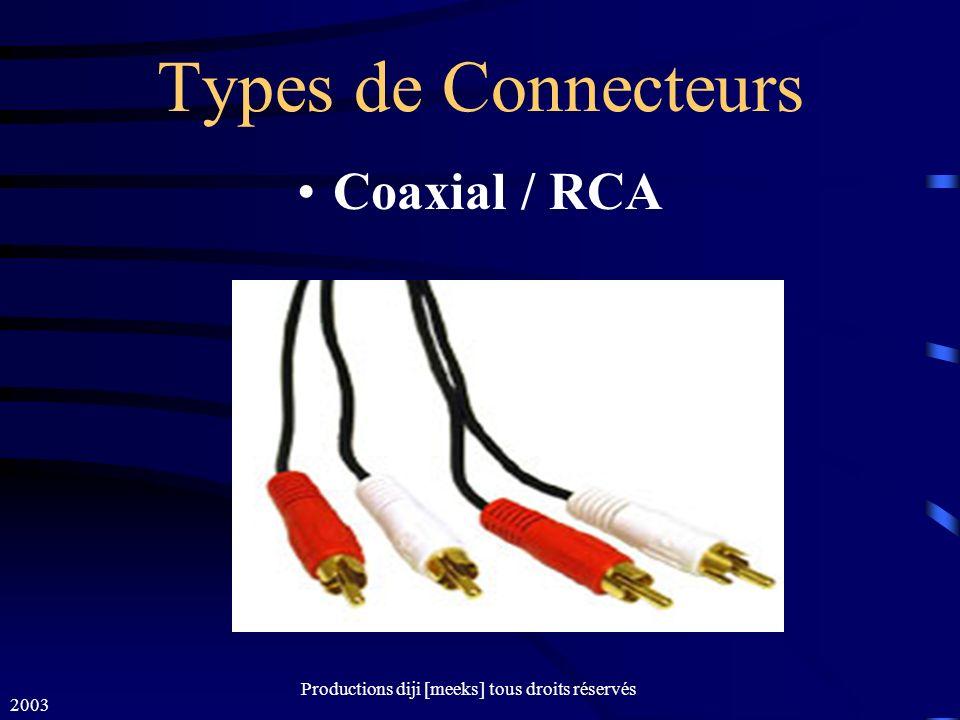 2003 Productions diji [meeks] tous droits réservés Types de Connecteurs Coaxial / RCA