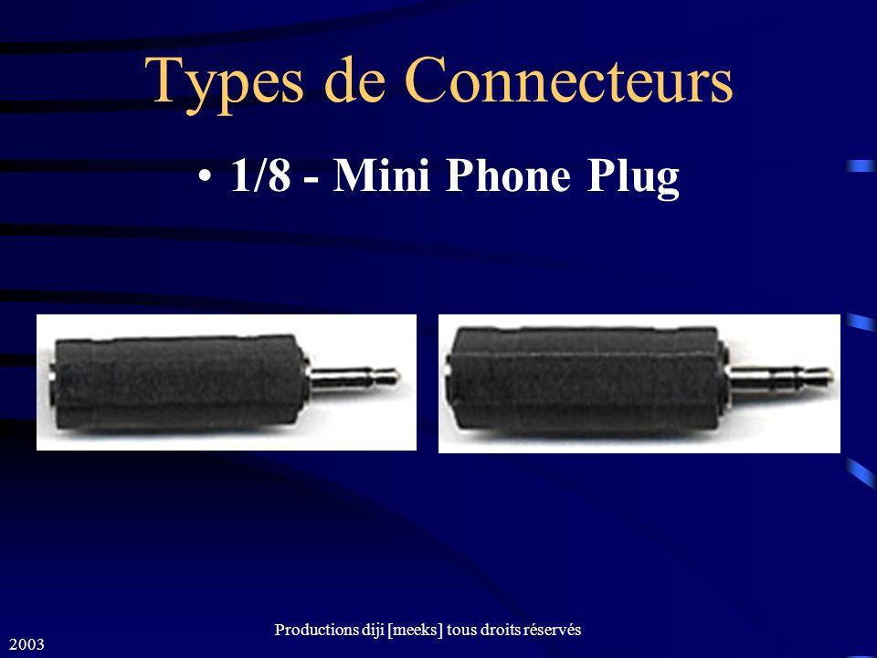 2003 Productions diji [meeks] tous droits réservés Types de Connecteurs 1/8 - Mini Phone Plug