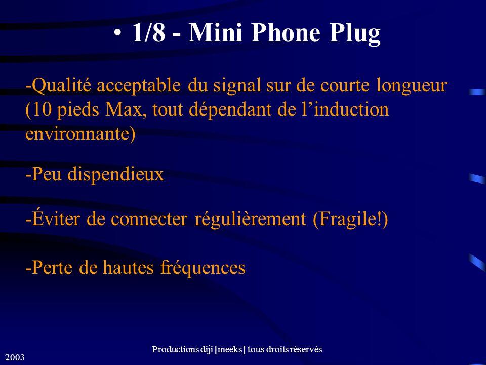 2003 Productions diji [meeks] tous droits réservés 1/8 - Mini Phone Plug -Qualité acceptable du signal sur de courte longueur (10 pieds Max, tout dépendant de linduction environnante) -Peu dispendieux -Éviter de connecter régulièrement (Fragile!) -Perte de hautes fréquences