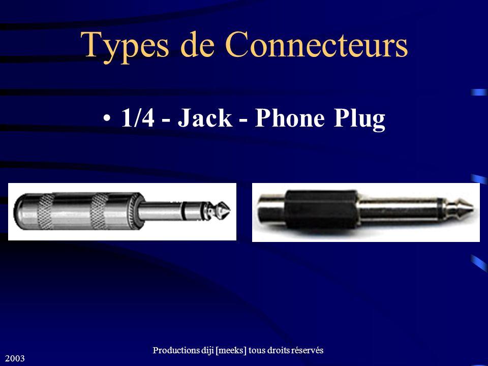 2003 Productions diji [meeks] tous droits réservés Types de Connecteurs 1/4 - Jack - Phone Plug