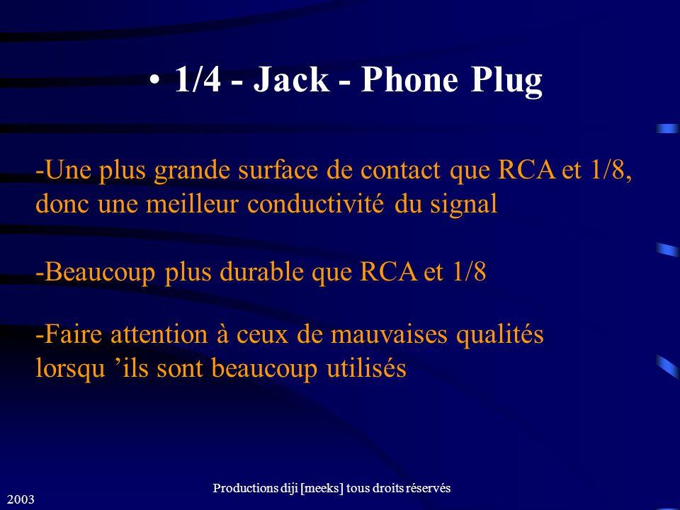 2003 Productions diji [meeks] tous droits réservés 1/4 - Jack - Phone Plug -Une plus grande surface de contact que RCA et 1/8, donc une meilleur conductivité du signal -Beaucoup plus durable que RCA et 1/8 -Faire attention à ceux de mauvaises qualités lorsqu ils sont beaucoup utilisés