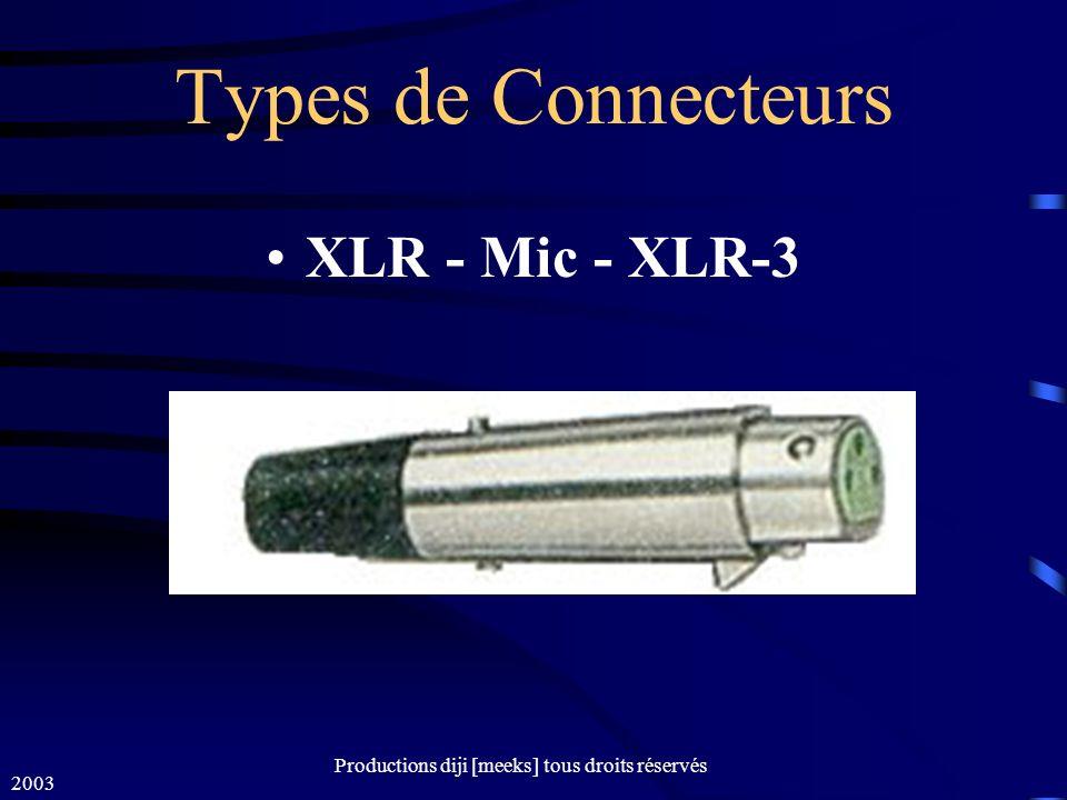 2003 Productions diji [meeks] tous droits réservés Types de Connecteurs XLR - Mic - XLR-3