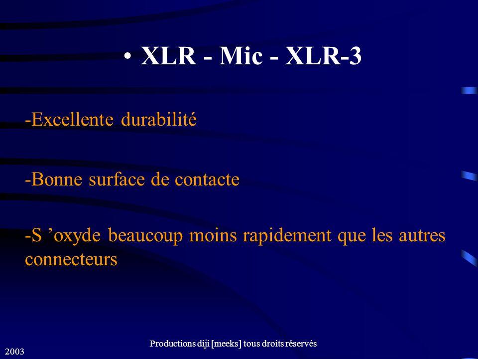 2003 Productions diji [meeks] tous droits réservés XLR - Mic - XLR-3 -Excellente durabilité -Bonne surface de contacte -S oxyde beaucoup moins rapidement que les autres connecteurs