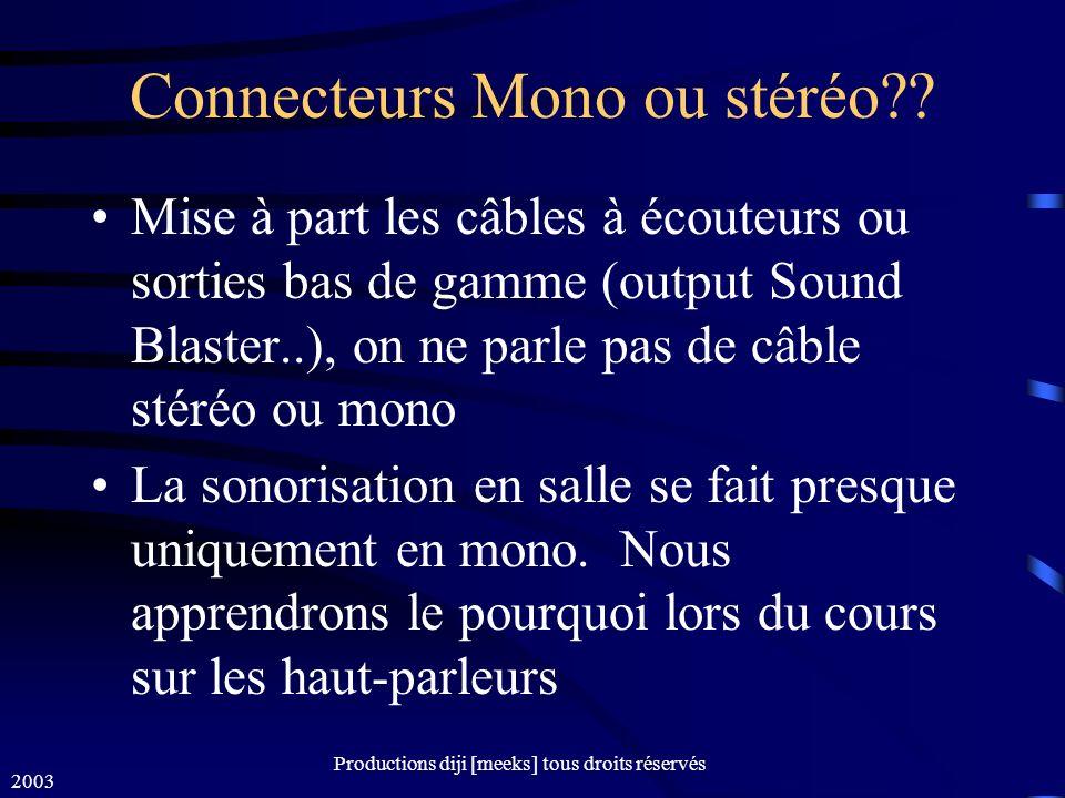 2003 Productions diji [meeks] tous droits réservés Connecteurs Mono ou stéréo?.