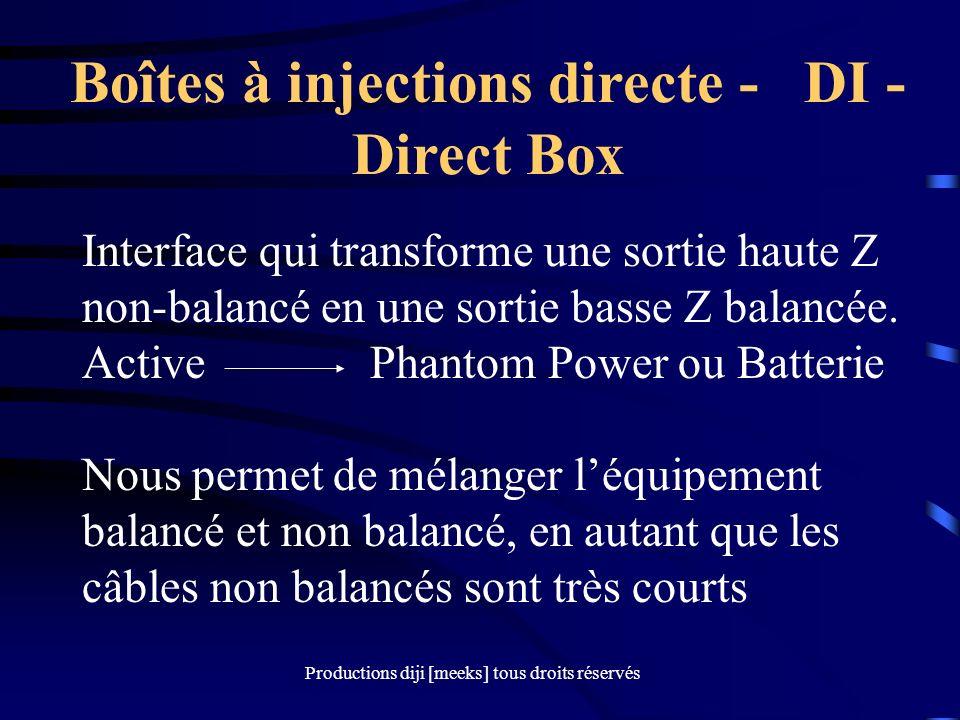 Productions diji [meeks] tous droits réservés Boîtes à injections directe - DI - Direct Box Interface qui transforme une sortie haute Z non-balancé en une sortie basse Z balancée.