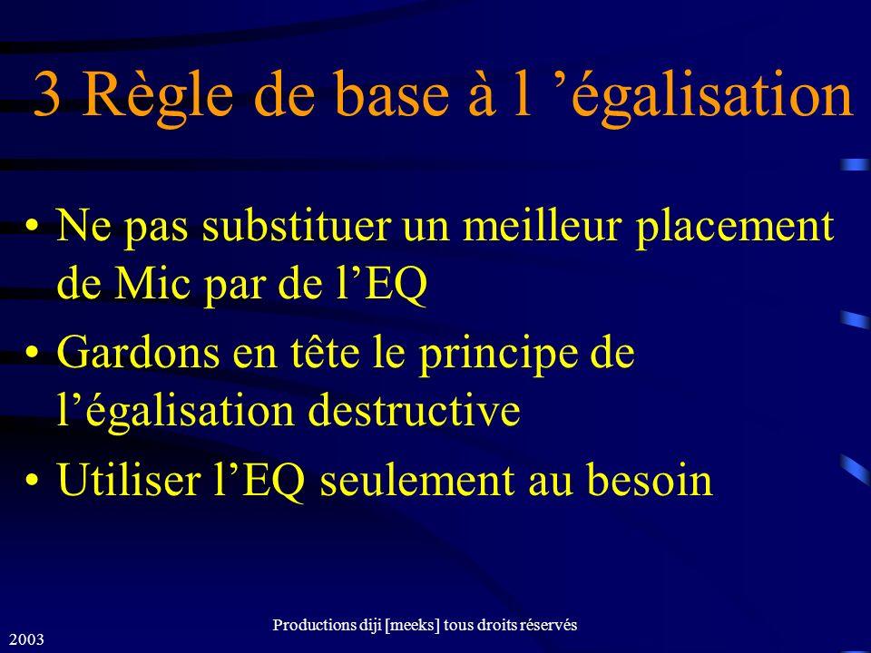 2003 Productions diji [meeks] tous droits réservés 3 Règle de base à l égalisation Ne pas substituer un meilleur placement de Mic par de lEQ Gardons en tête le principe de légalisation destructive Utiliser lEQ seulement au besoin
