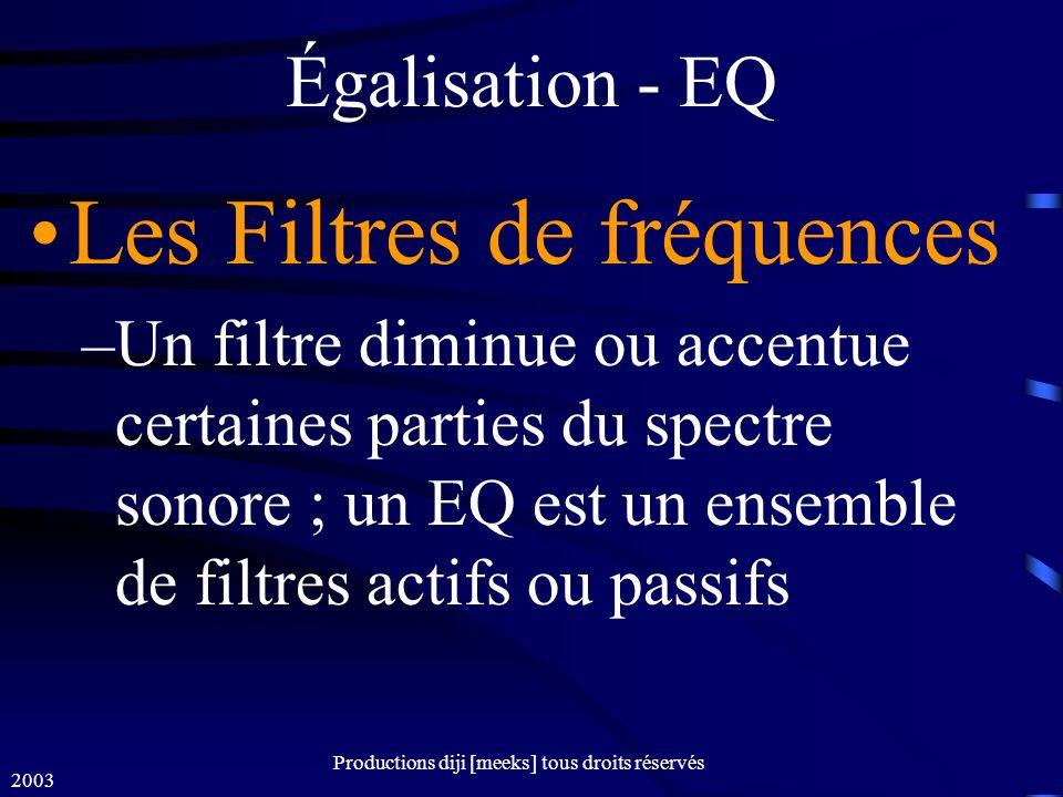 2003 Productions diji [meeks] tous droits réservés Égalisation - EQ Les Filtres de fréquences –Un filtre diminue ou accentue certaines parties du spectre sonore ; un EQ est un ensemble de filtres actifs ou passifs
