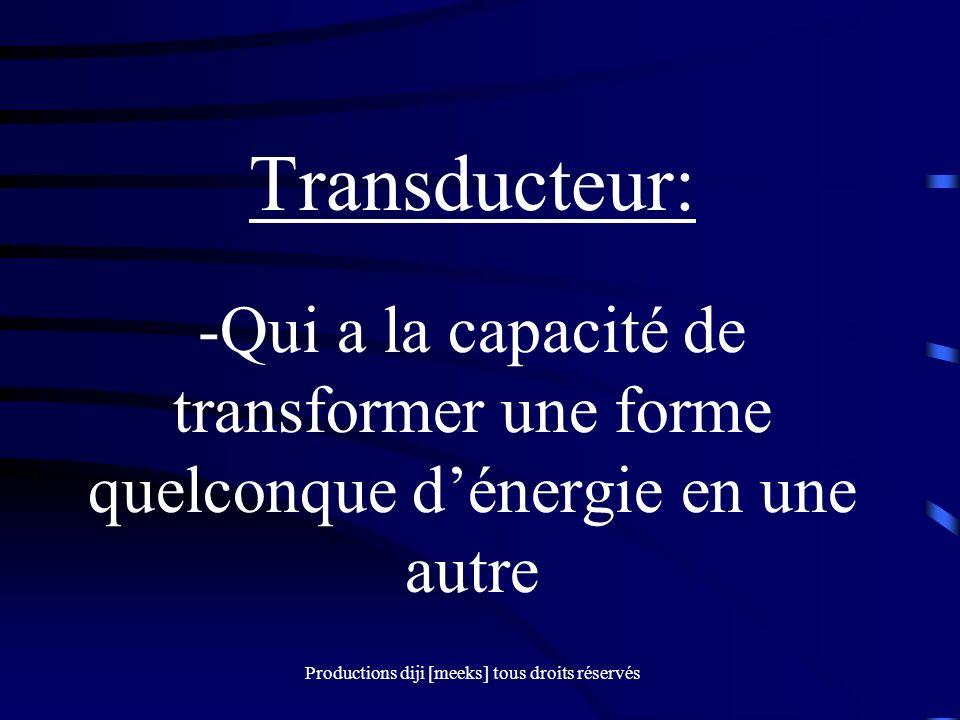 Productions diji [meeks] tous droits réservés Transducteur: -Qui a la capacité de transformer une forme quelconque dénergie en une autre