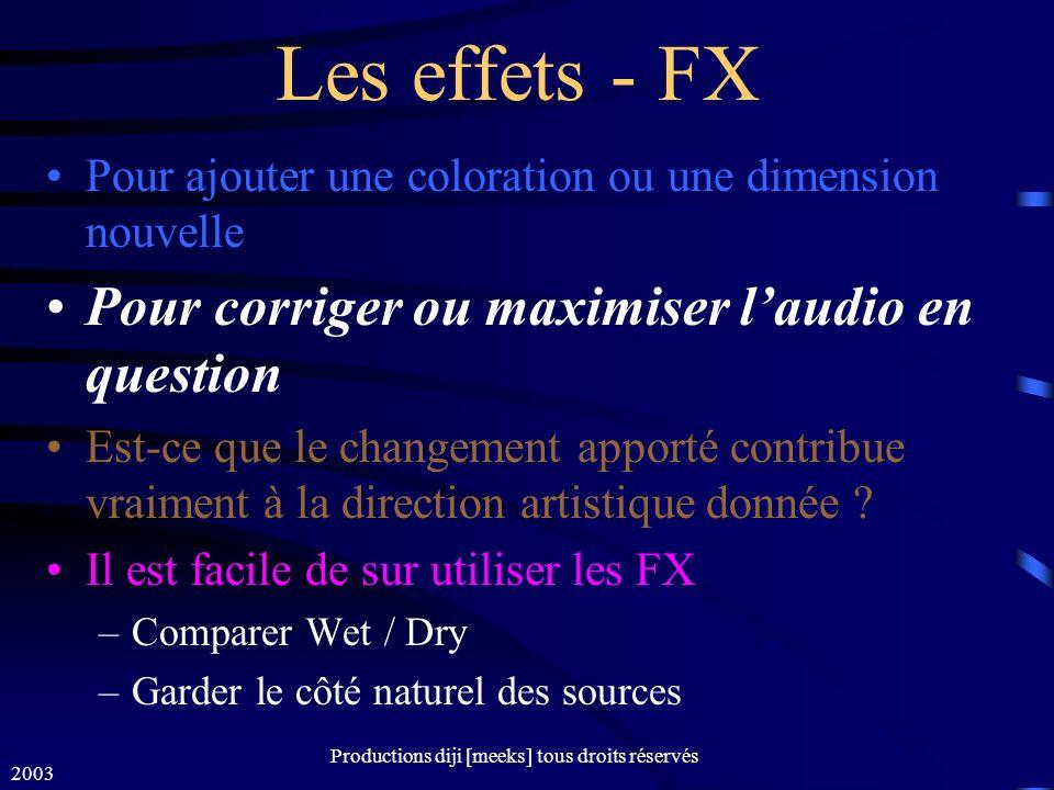 2003 Productions diji [meeks] tous droits réservés Les effets - FX Pour ajouter une coloration ou une dimension nouvelle Pour corriger ou maximiser laudio en question Est-ce que le changement apporté contribue vraiment à la direction artistique donnée .