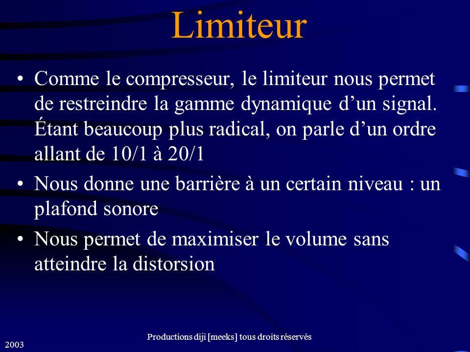 2003 Productions diji [meeks] tous droits réservés Limiteur Comme le compresseur, le limiteur nous permet de restreindre la gamme dynamique dun signal.