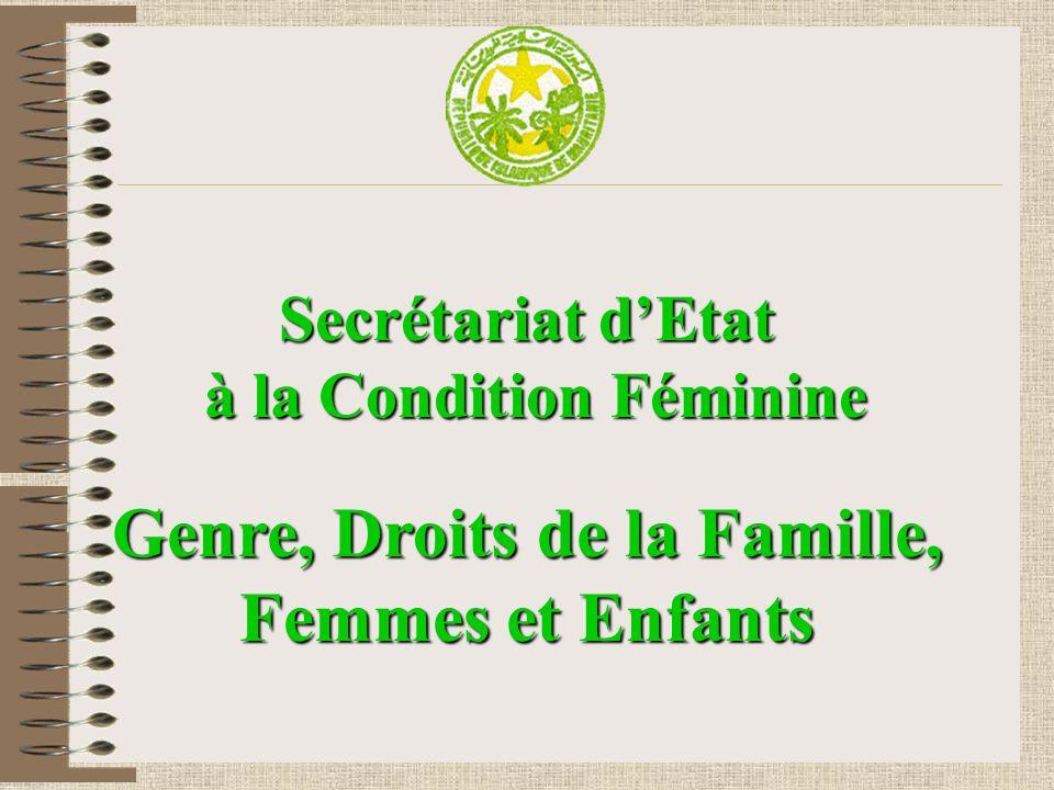 Secrétariat dEtat à la Condition Féminine à la Condition Féminine Genre, Droits de la Famille, Femmes et Enfants
