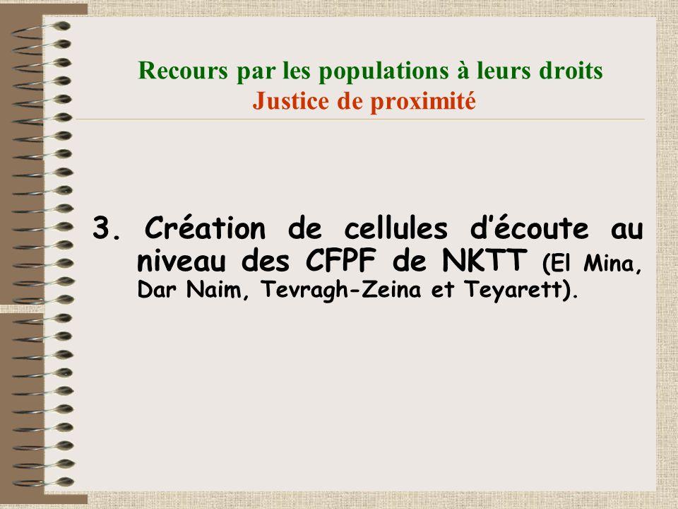 Recours par les populations à leurs droits Justice de proximité 3.